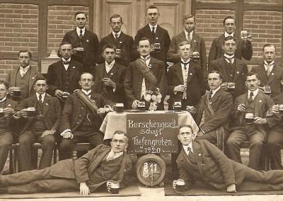 Burschengesellschaft Tiefengruben um 1920