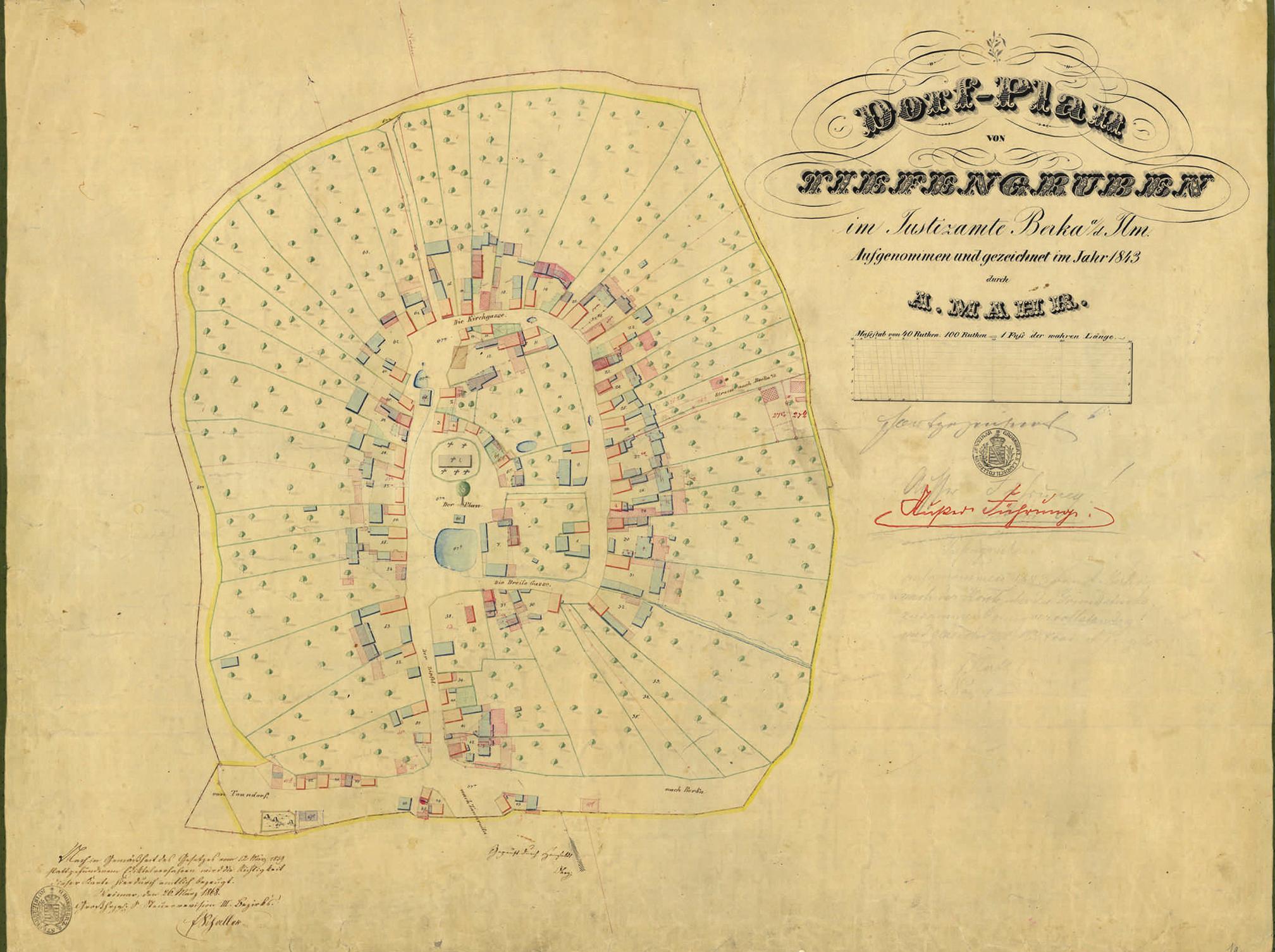 Dorfplan Tiefengruben um 1842
